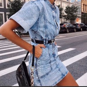 Topshop acid wash jean mini dress. Size 2